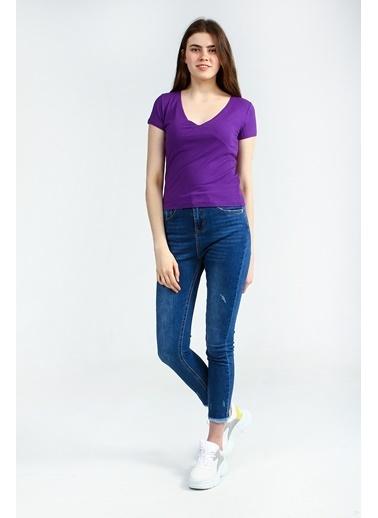 Collezione Mor V Yakalı Kısa Kollu Basic Kadın Tshirt Mor